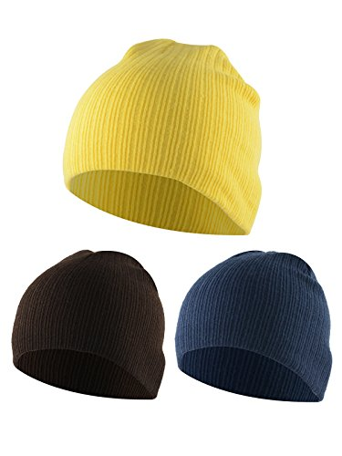 American Trends Toddler Infant Cotton Caps Kids Cute Knit Hat Children Winter Cozy Crochet Multicolor Beanie 3 Pack Bright Yellow Coffee -