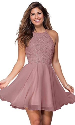 Women's Halter Spaghetti Strap Beaded Chiffon Prom Dresses Lace Short Prom Ball Gown Dusty Rose Size 2