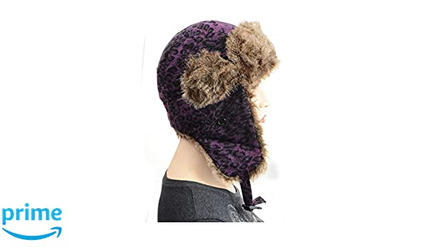 961368206ab Furry Vegan Friendly Leopard Cold Weather Ushanka Trapper Hat at Amazon  Women s Clothing store