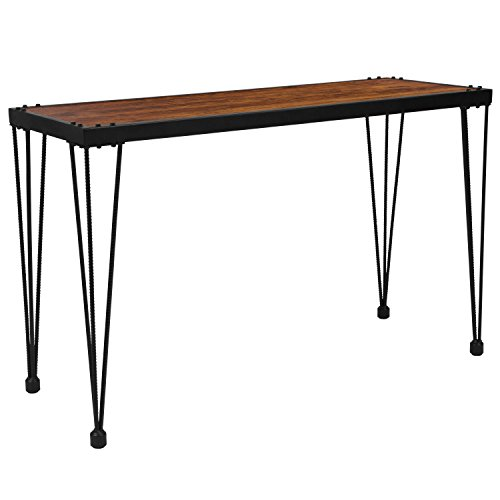 Flash Furniture Baldwin Collection Rustic Walnut Burl Wood Grain Finish Console Table with Black Metal Legs
