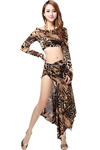 [ZLTdream Women's Leapord Belly Dance Costume Long-Sleeve Top And Slit Skirt 2PCS/Set] (Belly Dance Costumes Bra)