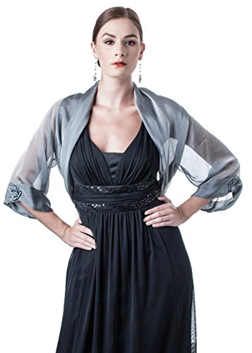 Silver Grey Silk Chiffon Bolero Jacket for Evening Dress (XS-S)