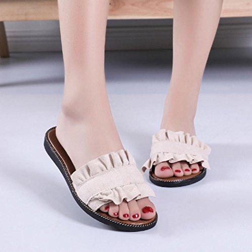 Couleur Pantoufles Sandales Sandales Ete ExtéRieur Plastique Plage Beige Chaussures De Sandales De Plage Solid Talon Beautyjourney Femmes IntéRieur Sandales w14qW6Kz