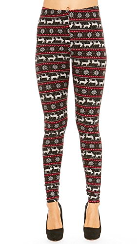 Fair Legging Isle (Just One Women's Printed Leggings Fair Isle Buttery Soft Comfortable Plus Size (Black, 2X))