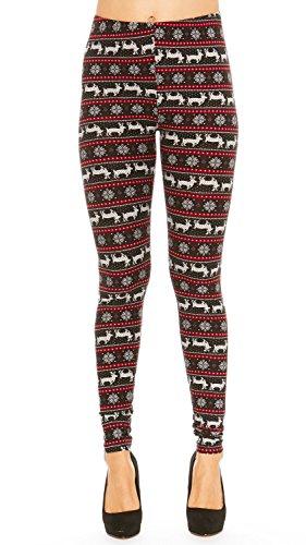Legging Fair Isle (Just One Women's Printed Leggings Fair Isle Buttery Soft Comfortable Plus Size (Black, 2X))
