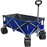 Eurmax Sports Collapsible Sturdy Steel Frame Garden Carts on Wheels Utility Beach Wagon Cart with Big Wheels,Bonus 8x8Ft Picnics Mat (Blue)
