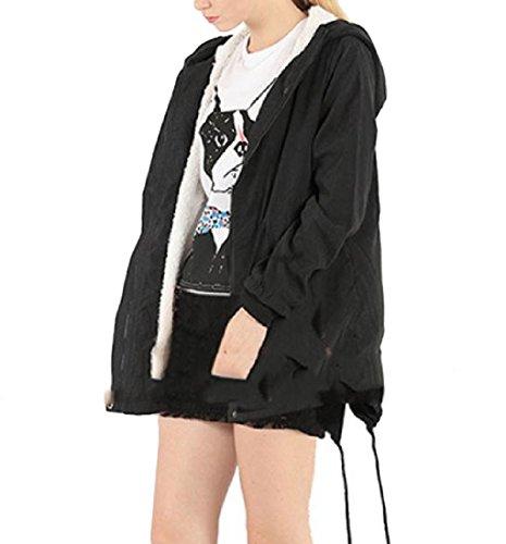 Casual Hood Black Winter Pure Length Coat Women Unbalanced Color Howme Mid 0wBPq5H