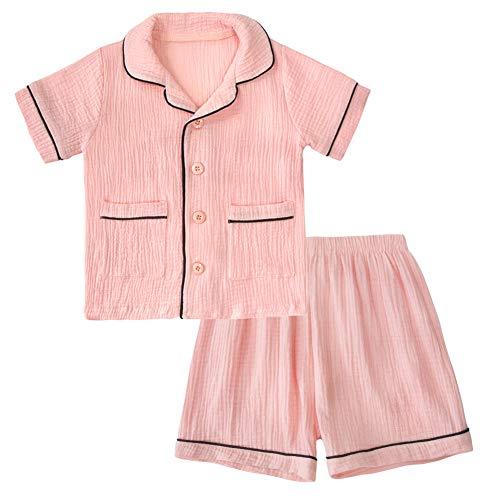 Big Boy Girl Sleepwear, Kid 2 Pcs Short Pajamas Set Short Sleeve Pjs Summer Nightwear Pink, 6T -