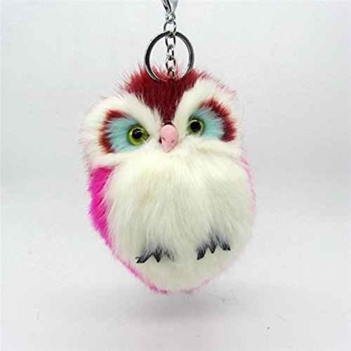 1 Pc Mini Pocket Fluffy Owl Fur Pompom Keychain Keyring Keyfob Rabbit Trinkets Key Chain Ring Fob Tag Holder Finder Necklace Unblemished Popular Cute Wristlet Utility Keychains Tool Girl Gift, Type-02