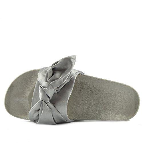 Grigio Muli Cursore On Flat Scarpe Slipper Footwear Donna Ciabatta Slip Sandali Pelliccia Raso Kick YRg0w
