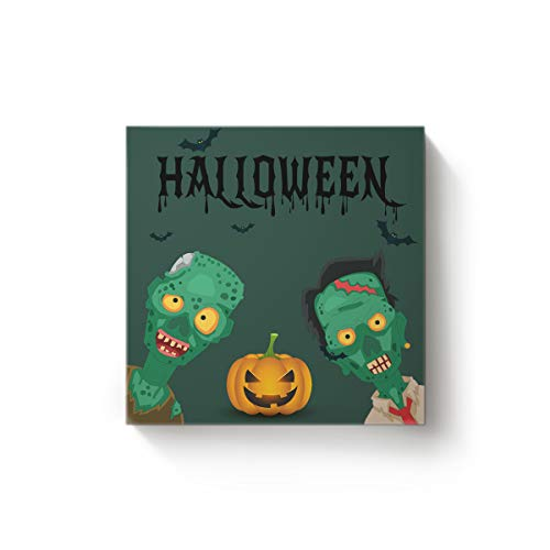 28 x 28 Inch Square Canvas Wall Art Oil Painting Office Home Decor for Living Room Bedroom Kitchen,Green Devil Pumpkin Happy Halloween Artworks,Stretched by Wooden Frame,Ready to Hang