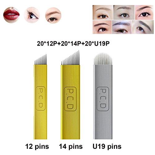 Guapa PCD Microblading Needles for Eyebrow Eyeliner Lip Permanent Makeup Pure Metal Tattoo Needles 12Pins 14Pins U Shape 19 Pins Manual Blades (Mix size 60pcs)