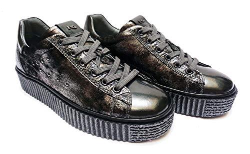 Zeppa num Donna Alt 36 Scarpe Pelle grigio Acciaio In Sneakers Giardini Cm 3 Nero wzq7RBB