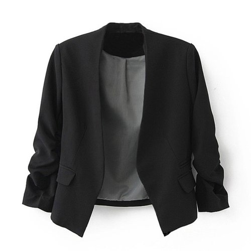 Ninimour- Korea Style Women's Blazer Jacket Suit Work Casual (M, Black)