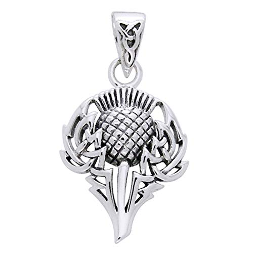 Scottish Spirit of Alba Thistle Celtic Knot Art Sterling Silver Pendant by Courtney Davis