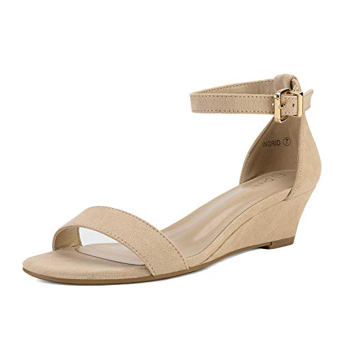 DREAM PAIRS Women's Ingrid Nude Suede Ankle Strap Low Wedge Sandals Size 8 M US