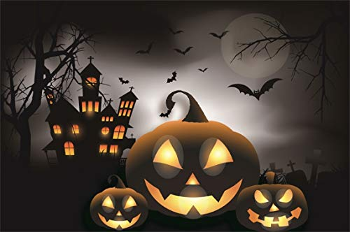 Leyiyi 6x4ft Gothic Happy Halloween Backdrop Vintage Castle Ghost Room Medieval Architecture Full Moon Pumpkin Light Photography Background Horror Costume Night Photo Studio Prop Vinyl Wallpaper