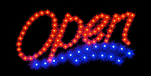 2xhome - Open Sign - High Visible Bright Stylish 2 Colors Water Wave Beach Big Chip Led Moving Flashing Animated Neon Sign Motion Light On Off Switch Button Chain 19x10 for Business Drink Food
