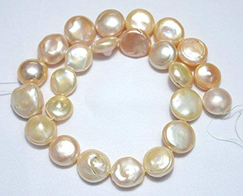 - Freshwater Pearls, Pink - White Pearls, Natural Pink Coin Shape Pearls, 15.5-18.5mm Approx, 16 Inch Full Strand, 24 Pieces by Gemswholesale