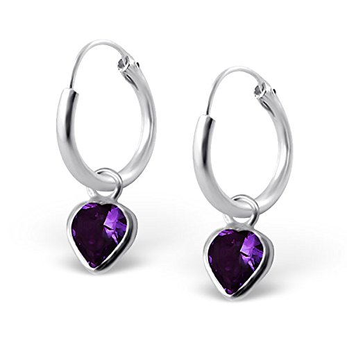 "Price comparison product image Pro Jewelry .925 Sterling Silver Dangling Amethyst / Purple Cz Heart on 1/2"" Endless Hoop Earrings 4662"