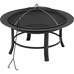 Fire Pits Mainstays 28-Inches Patio Outdoor Backyard and Fire Pit with Hardware Bag firepits