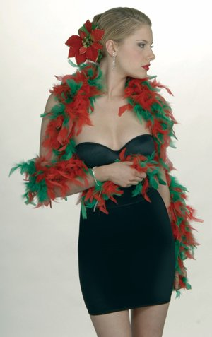Forum Women's Christmas Feather Boa, Red/Green, One