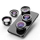 ZJH Phone Camera Lens 5 in 1 Phone Camera Lens Kit Professional HD Fisheye Super Wide Angle Macro Lens for Most Smart Mobile Phone