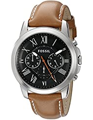 Fossil Mens FS4918 Grant Chronograph Stainless Steel Watch with Tan Leather Band
