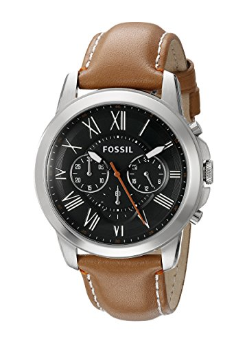 Fossil Men's FS4918 Grant Chronograph Stainless Steel Watch with Tan Leather ()