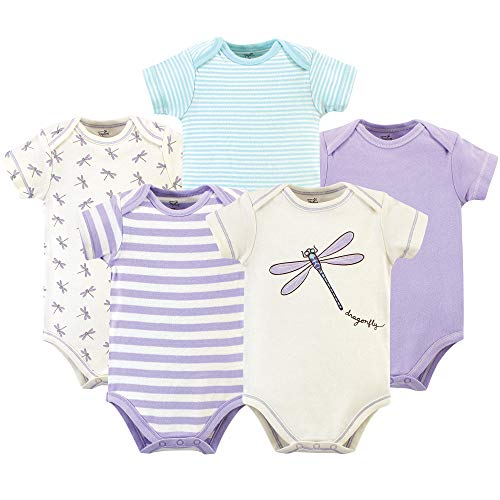 Touched by Nature Unisex Baby Organic Cotton Bodysuits, Dragonfly 5 Pack, 3-6 Months (6M)