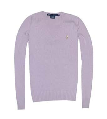 Ralph Lauren Sport Women V-Neck Pony Logo Sweater Pullover (XS, Light purple)