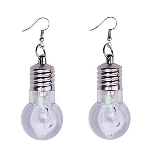 Cognac Quartz Earrings (1Pair Fashion Women Light Up Earring LED Blinking Bulb Ear Hook Dangle Jewelry (A))