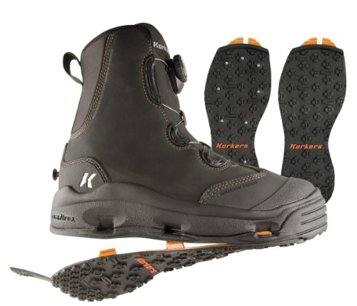 Korkers Devil's Canyon Wading Boot with Kling-On and Studded Kling-On Outsoles, Black, 11