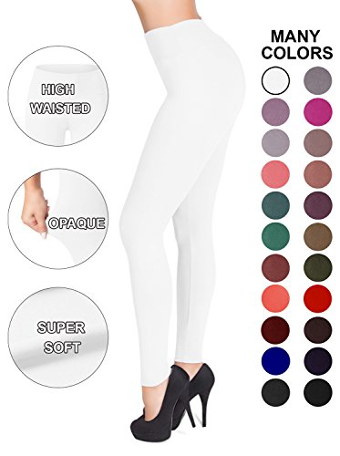 SATINA High Waisted Leggings - 22 Colors - Super Soft Full Length Opaque Slim (One Size, White)