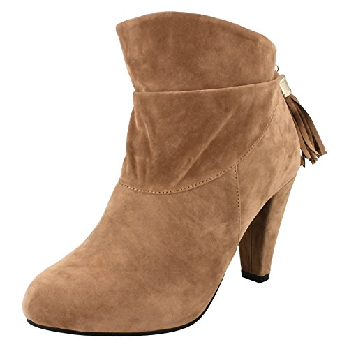 Spot On High Heel Ankle Boot Rouched Tassel Chain Back Zip Nude