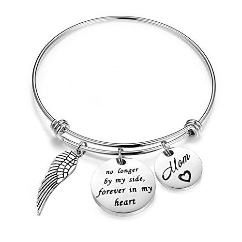 Memory Designs Wire Bracelet (FEELMEM Memorial Mom Bracelet No Longer By My Side Forever In My Heart Cuff Bangle Bracelet In Memory Of Loved One Mom Memorial Jewelry (Silver Wire No LongerMom))