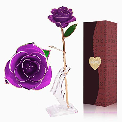 YINXN 24k Gold Rose, Gold Plated Rose 24k Gold Dipped Rose Everlasting Long Stem Real Rose with Exquisite Holder,Romantic Gift for Valentine's Day, Anniversary, Birthday and Mother's Day (Purple)