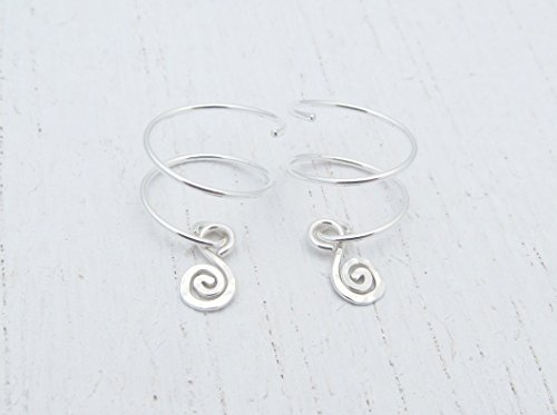 Double Piercing Earrings with Spiral Charm for Two Side by Side Ear Piercings in Argentium Sterling Silver