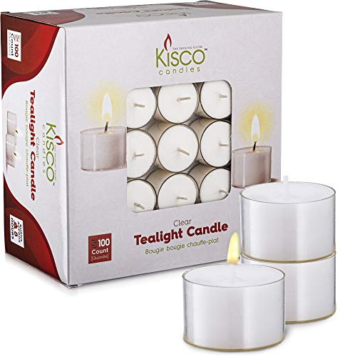 Kisco Clear Cup White Unscented Tea Light Candles - 8...