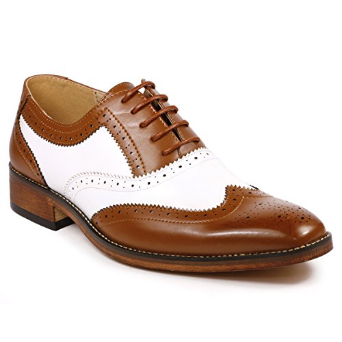 - Metrocharm MC118 Men's Two Tone Perforated Wing Tip Lace Up Oxford Dress Shoes (10, Tan Brown White)