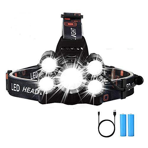 LED Hoofdlamp, Yizhet 5LED Hoofdzaklamp 6000 lumen LED Hoofdlamp USB Koplamp Waterdicht, USB Oplaadbare Koplamp Hoek Van…