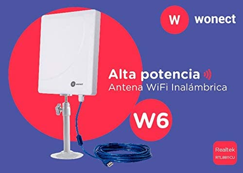 Antena WiFi Panel USB cable 10m AC600 Realtek RTL8811 Wonect W6 exterior doble banda compatible 2.4Ghz y 5Ghz