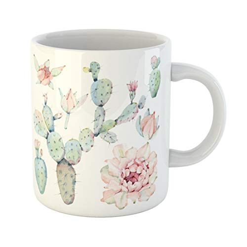 Tarolo 11 Oz Mug Coffee Mug Ceramic Tea Cup Flower Watercolor Saguaro Cactus It Perfect Bloom Desert Succulent Birthday Large C-handle Family and Office Gift