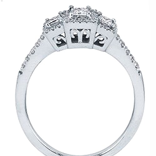 0.50 Carat (ctw) 14k White Gold 3 Stone Princess Diamond Ladies Bridal Vintage Engagement Ring 1/2 CT