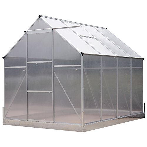 Outsunny 8′ x 6′ x 7′ Polycarbonate Aluminum Framed Portable Walk-in Garden Greenhouse with Adjustable Roof