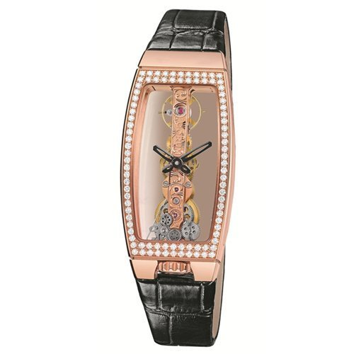 Corum Bridges Miss Golden Bridge 113.102.85/0001 0000 Diamonds Automatic Rose Gold Case Black Leather Anti-Reflective Sapphire Women's Watch
