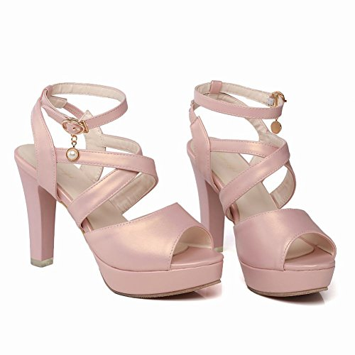 Mee Shoes Damen High Heels Plateau Slingback Sandalen Pink