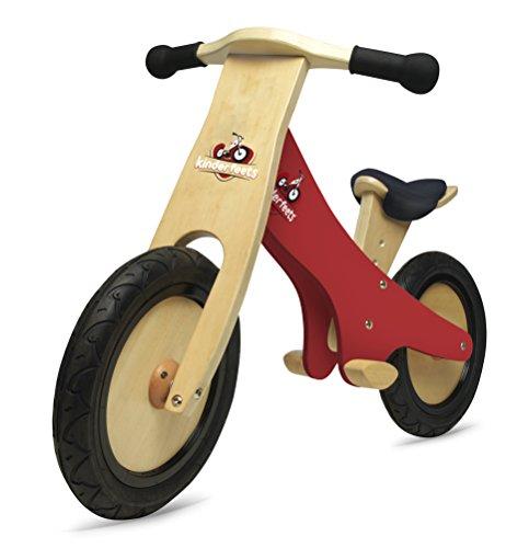 KinderfeetsClassic Chalkboard Wooden Balance Bike, Kids Training No Pedal Balance Bike, Red