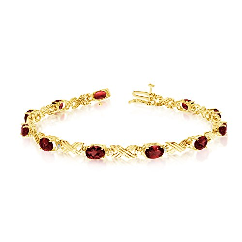 (10K Yellow Gold Oval Garnet Stones And Diamonds Tennis Bracelet, 7