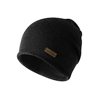 Triwonder Winter Knit Beanie Skull Cap Wool Warm Slouchy Hat Watch Hat Men Women (Black)